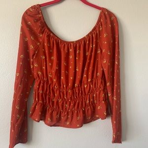 Floral long sleeve crop shirt